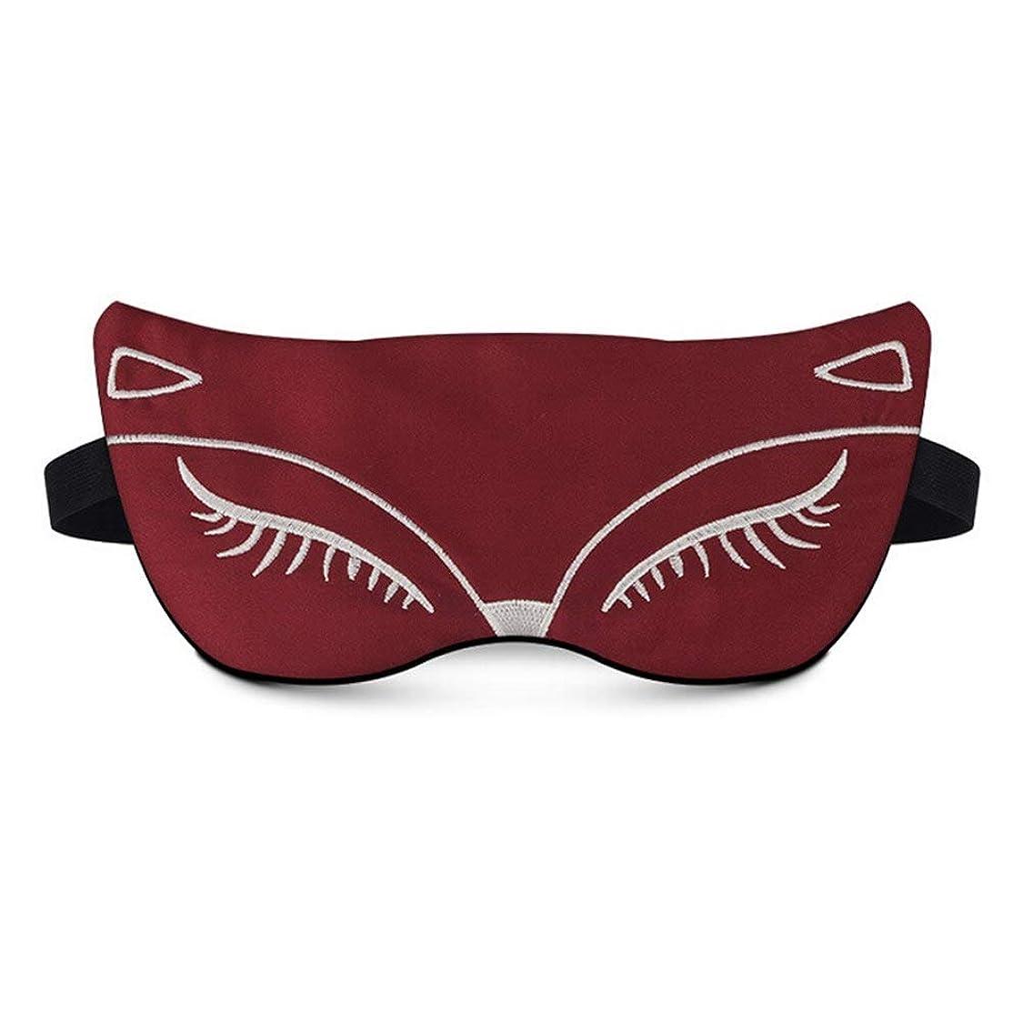 洋服ブランデーロックNOTE フォックス形状目隠し漫画素敵な睡眠アイマスクシェーディング睡眠ケア機器用女性模造シルク刺繍目パッチ