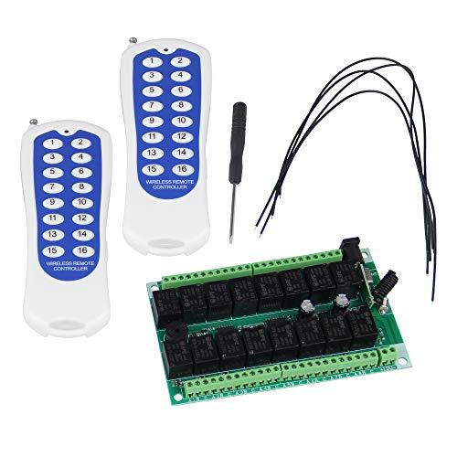 Bqlzr Inching/autoscatto/Interlocked 12V 16canale RF 433MHz wireless relay Remote Control interruttori a due tasti trasmettitori e 4ricevitore