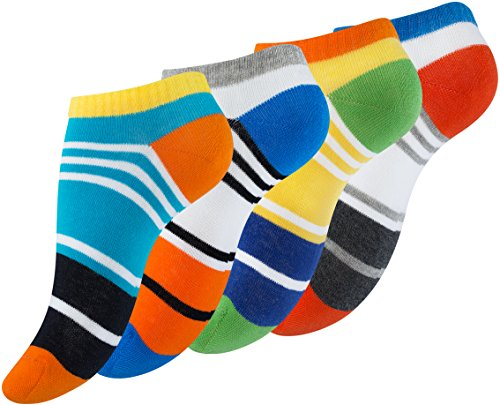 Vincent Creation 8 Paar Bunte Damen Sneaker-Socken Color Block Design, Baumwolle, farbige Streifen