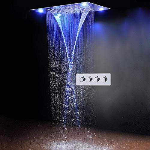 """SS Design Classique 31"""" 600x800mm Pluie Grande Douche la Valeur Cascade LED encastrés Plafond 4 Fonction douchette, télécommande"""