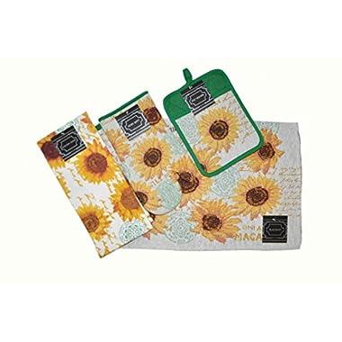 Sunflower Kitchen Decor - 8 Piece Sunflower Kitchen Set Accessories includes 4 Placemats, 2 Kitchen Towels, 1 Potholder, and 1 Oven Mitt