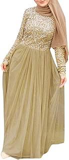 TIFENNY High Waist Elegant Muslim Evening Maxi Dresses Cape Slim Muslim Party Dresses Long Sleeve Sequin Decor Mesh Dress