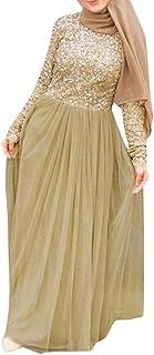 Lazzboy Muslimische Abend Maxi-Kleid Muslimischen Kleider Frauen Spitze Pailletten Strickjacke Maxikleid Abaya Kaftan Dubai Paillettenstickerei Der Moslemischen