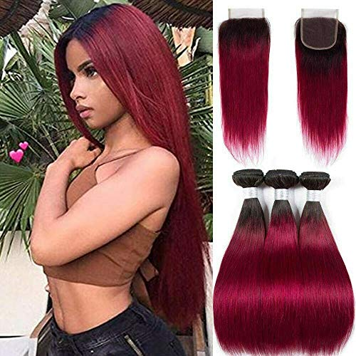 Ombre Brazilian Hair bundles with Closure - ORANGE STAR Ombre Burgundy Bundles With Closure Pre Colored 99J Bundles With Closure Straight Human Hair Weave (10\