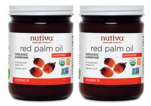 Price comparison product image Nutiva USDA Certified Organic,  non-GMO,  Cold-Filtered,  Unrefined,  Fair Trade Ecuadorian Red Palm Oil,  15 Ounce (Pack of 2)