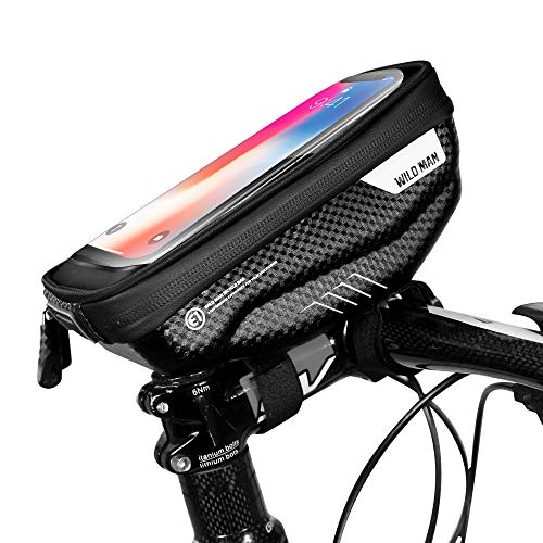 SKYSPER Sacoches de Guidon Vélo avec Écran Tactile Transparent Pochette Vélo Guidon Universel Support Téléphone Vélo Etanche pour Smartphones de 4,7 à 6,5 Pouces Sacoche Vélo VTT Moto Scooter