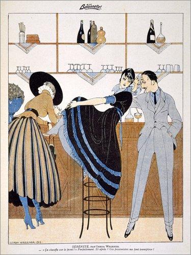 Posterlounge Holzbild 30 x 40 cm: Gelassenheit, aus dem Wochenblatt 'La Baionnette', 1915 von Gerda Wegener/Bridgeman Images