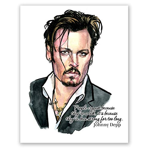 AtoZStudio Johnny Depp Quote Poster // Actor Celebrity Wall Art Decor // Living Room Bedroom Print // Portrait (8x10)