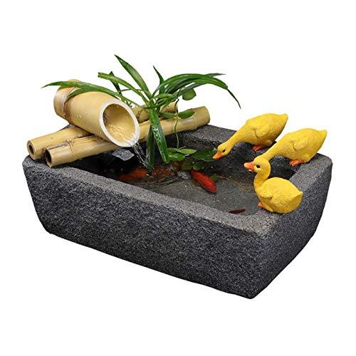 HAKLAKY Fontanella da Interni/Fontana Interni Esterni Bamboo Accenti Zen Giardino d'Acqua con Pompa e Anatra Decorativi, Rettangolare Stone Trough Base Fontana Zen Feng Shui
