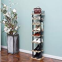 X-cosrack 8 Tier Vertical Shoe Storage Organizer with Hooks 8 Pairs