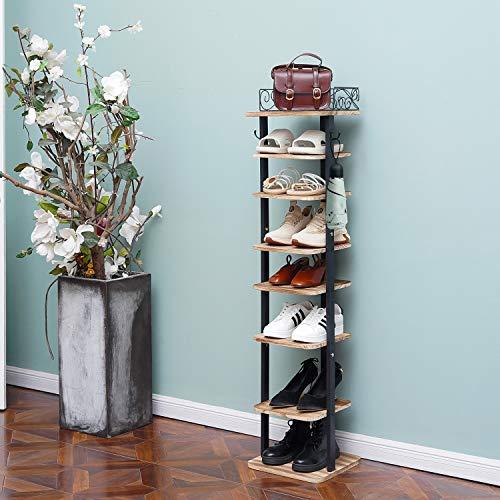 X-cosrack Zapatero ajustable de 8 niveles, organizador de almacenamiento de zapatos con ganchos, 8 pares de soporte de madera rústica para zapatos vertical para entrada y pasillo