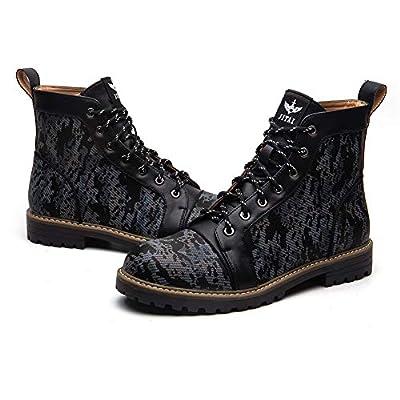JITAI Men Pu Leather Lace-up Men Shoes Men Vintage British Boots Winter (10.5, Black)