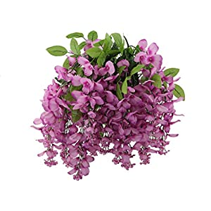 Artificial Wisteria Long Hanging Bush Flowers – 15 Stems For Home, Wedding, Restaurant and Office Decoration Arrangement, Lilac