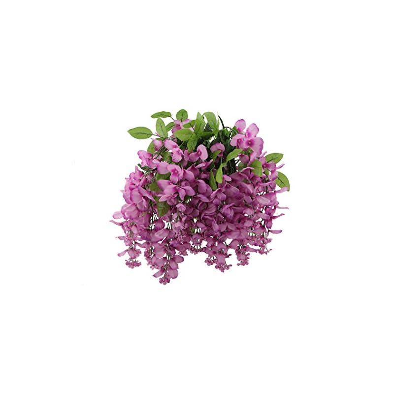 silk flower arrangements artificial wisteria long hanging bush flowers - 15 stems for home, wedding, restaurant and office decoration arrangement, lilac