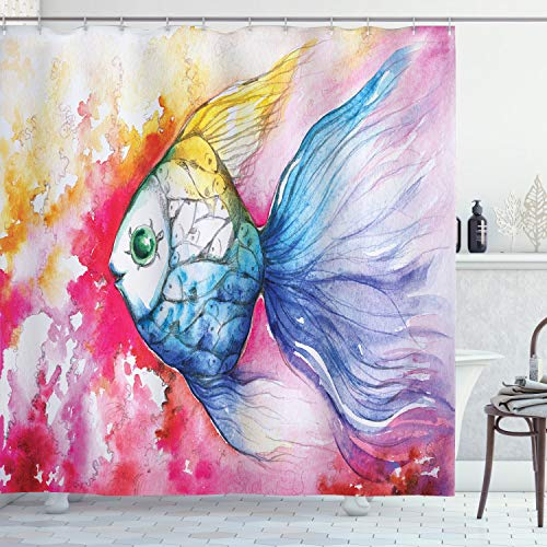 Ambesonne Ocean Animal Decor Shower Curtain, Watercolor Fish Paint with Grunge Vivid Brushstroke Splashes Nautical Concept, Fabric Bathroom Decor Set with Hooks, 70 Inches, Multi