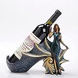 Pequeña Botelleros Vino Vertical Design Resina Figuras Decorativas Vinoteca Mueble Creativo Estante Botellas de Vino Estatuilla de Niña para Armario Salon Bar Regalos Hogar, Blue
