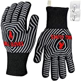 QUWIN BBQ Gloves, 1472°F Heat Resistant Grilling Gloves Silicone Non-Slip Oven Mitts, Kitchen Gloves for BBQ, Grilling, Cooking, Baking(One Size Fits Most, Black)- 1 Pair