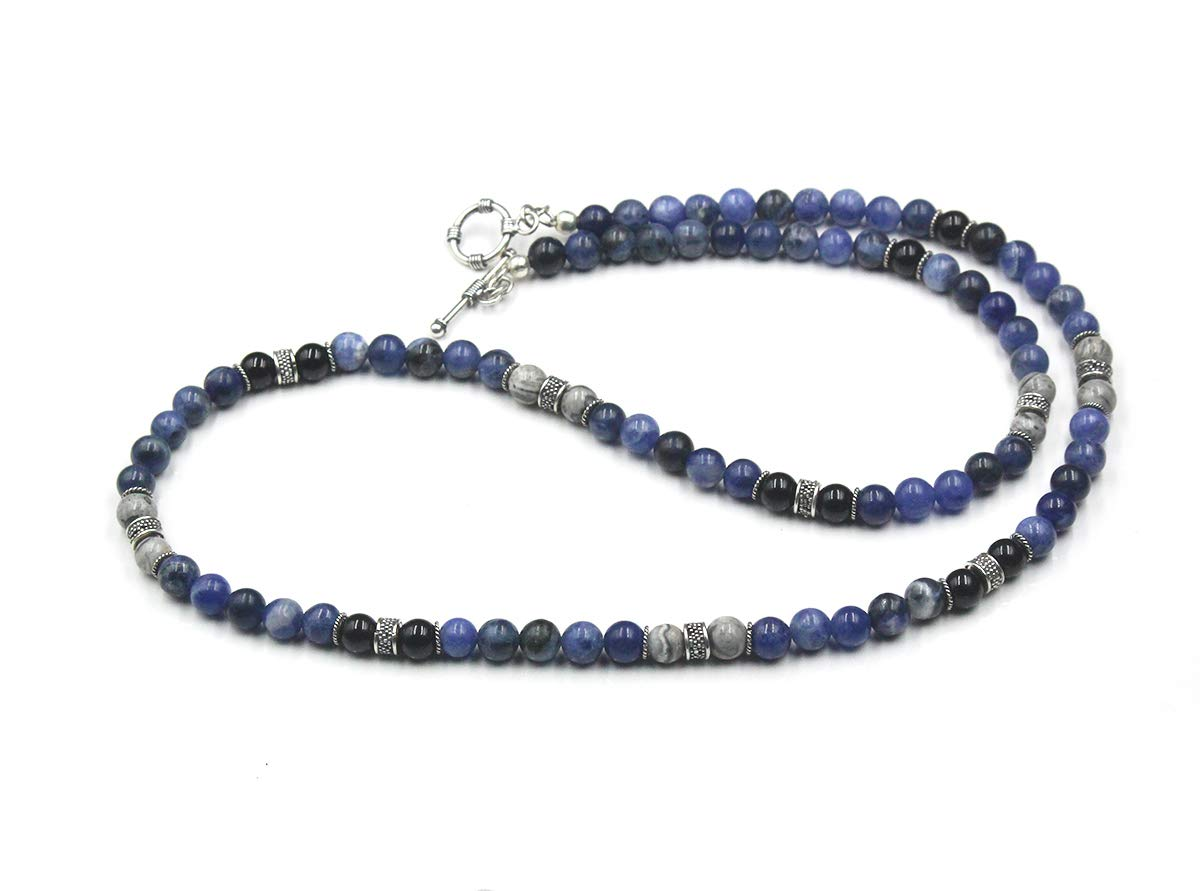 Men's Necklace Year-end gift Sodalite Onyx and Stone Beads Neck Grey Jasper Max 63% OFF