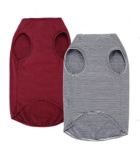 WEONE Dog Summer T-Shirts Striped Cotton Vest,Pet Breathable Soft Basic Clothes for Small Medium...