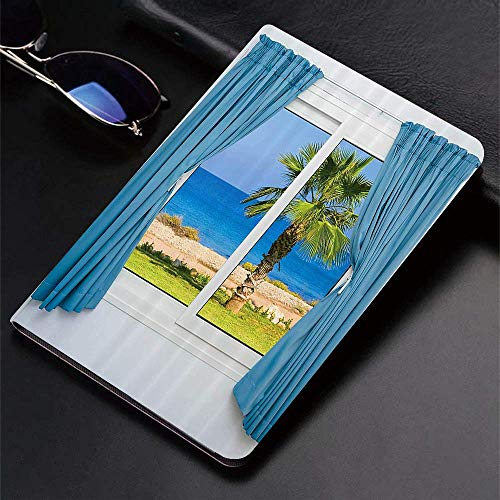 Case for iPad (9.7-Inch, 2018/2017 Model, 6th/5th Generation)Ultra Slim Lightweight Smart Cover,Set,Blue s White Walls Sunny Day Shore Palm Tree ?sland View Horizon Rest,B,Smart Covers Auto Wake/Sleep