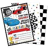 WERNNSAI Invitaciones de Carreras de Autos con Sobres - 20 Set Suministros para Fiestas de Carreras para Baby Shower Graduación Cumpleaños de Niños Tarjetas de Invitación de Carrera