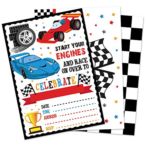 WERNNSAI Rennwagen Einladungskarten mit Umschlägen - 20 Stück Rennen Partyzubehör für Kinder Jungen Geburtstag Babydusche Abschluss Füllen Sie Auto Einladungen Kartenset