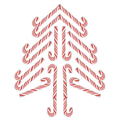 CURTT Zuckerstangen Candy Canes rot weiß - 50 Stück Handgemachte Keramik Weihnachten Zuckerstange Weihnachtsdekoration