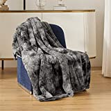 Bedsure Low-Voltage Electric Heated Blanket Throw - Faux Fur Sherpa Heating Blanket with Safe & Warm Low Watt Technology (Grey, 50x60 inches)