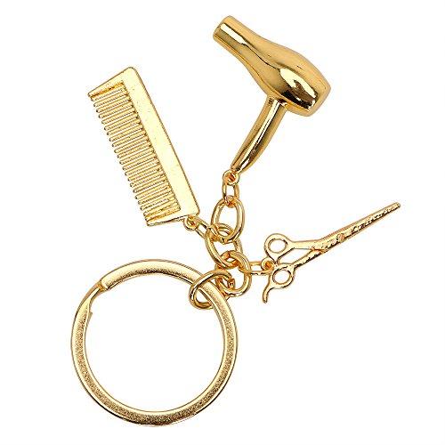 Porte-clés décoratif iTimo - Cadeau de coiffeur - Ciseaux - Sèche-cheveux - Accessoire de voiture - Porte-clés (doré)