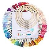 Kit Punto Croce,Ricamo Starter Kit 100 Colori Filo da Ricamo,Kit di Attrezzi a Punto Croce con 5 Pezzi di Cerchi di bambù, Punto Croce Colori Arcobaleno Filo da Ricamo