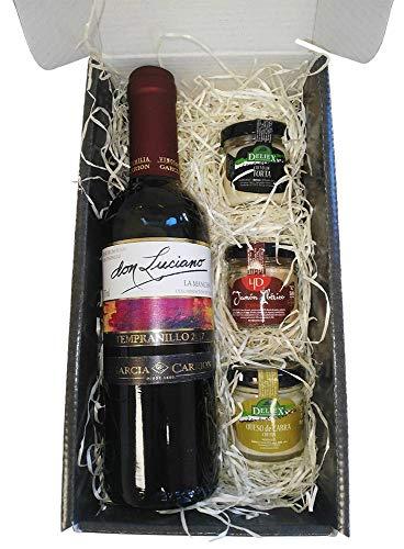 Cajita para Regalo Deliex, Vino Don Luciano Tempranillo y 3 Cremas (Paté, Queso de Torta y Queso de Cabra) para untar.