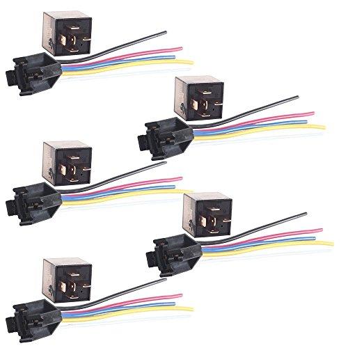 Mintice 5 X 80A 12V kit voiture relais 5 broches pour la pompe à carburant de ventilateur électrique robuste prise de courant fil