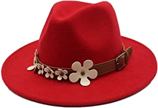 2019 Mens Womens Hats Womens Winter Wool Polyester Fedora Hat for Women Lady with Flowers Church Jazz Hat Wool Trilby Fascinator Hat Casual Wild Hat Soft (Color : Red, Size : 56-58)