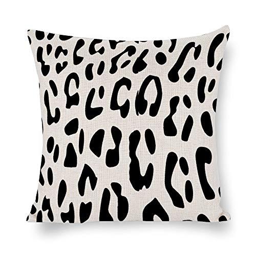 N/ A Animal Skins - Funda de cojín cuadrada para sofá, diseño de leopardo, color negro, Lino, Como se muestra en la imagen, 16 x 16