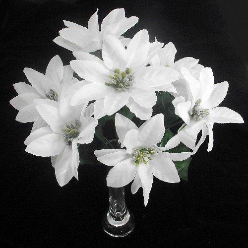 A1-Homes 30cm Artificial Poinsettia Bush - 7 Flower Heads each bunch (White, 3)