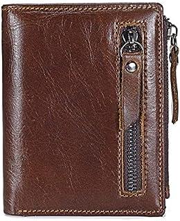 جلد طبيعي رجل محفظة رجل سستة قصيرة عملة محفظة ماركة البقر الذكور الائتمان.محفظة متعددة الوظائف محافظ صغيرة (Color : Brown)