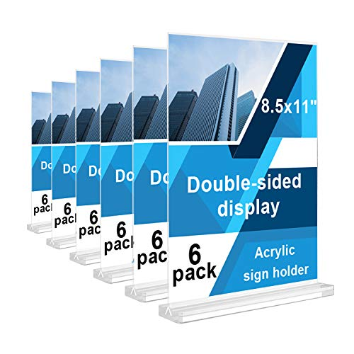"""REALWAY 6Pack 8.5""""x11"""" Table Top Acrylic Menu Sign Holders, Double Sided Plastic Paper Display Stand, Bottom Load Portrait Style Clear Ads Frame for Office, Restaurant, Hotel,Store,Transparent Base"""