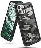 Ringke Fusion-X Compatible con Funda iPhone 12 Pro MAX (2020) 6,7 Pulgadas, Militar Rigida Carcasa Parachoque TPU Funda Negra - Camo Black (Camuflaje)