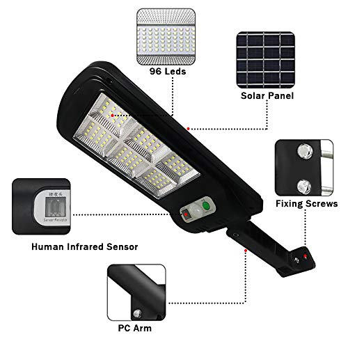 Solar Street Lights 2 Pack Remote Control Solar Parking Lot Light 96 LED IP65 Outdoor Motion Sensor Solar Security Light with 3 Lighting Modes for Garden Street Deck Patio Path