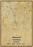 Leinwanddruck, Motiv Deutschland, Wünsdorf Brandenburg, Landkarte, Vintage-Stil, ungerahmt, Dekoration, Geschenk, 27,9 x 35,6 cm