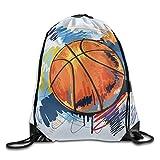 YOWAKi Basketball Graffiti Unisex Home Rucksack Shoulder Bag Travel Drawstring Backpack Bag