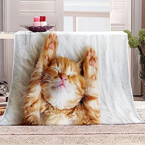 Manta De Cama 3D Animal Lindo Gato durmiendo Manta Reversible Suave y Esponjosa De Lana Estampado Manta de Dormitorio para Cama Infantil Individual Matrimonio 150x200cm