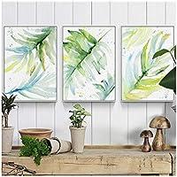 """植物の帆布の絵画、水彩のヤシの葉のポスターとプリントの壁の芸術、リビングルームの家の装飾19.6"""" X 27.5""""(50x70cm)フレームなし3個"""