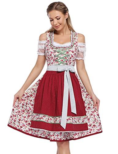 KOJOOIN Trachtenkleid Damen Dirndl Kurz mit Stickerei Exklusives Designer für Oktoberfest - DREI Teilig: Kleid, Bluse, Schürze Weinrot-Blumen 38
