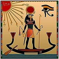 ポスターアートワークエジプトRa太陽神抽象的な壁壁画ポスターとプリント古代の信念写真部屋の装飾15.7x15.7in(40x40cm)フレームなし