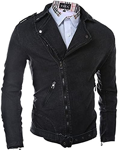Vjibmt Mode Hommes Veste Jeans, Veste décontractée, Hommes,noir,l