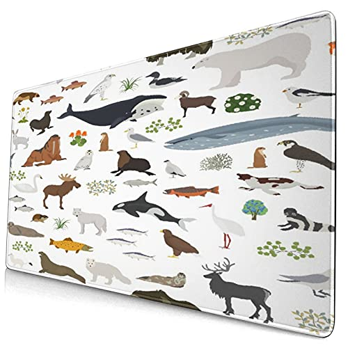 """Nettes Mauspad ,Weltkarte des terrestrischen Ökosystems Arktische,Rechteckiges rutschfestes Gummi-Mauspad für den Desktop, Gamer-Schreibtischmatte, 15,8 \""""x 29,5\"""""""