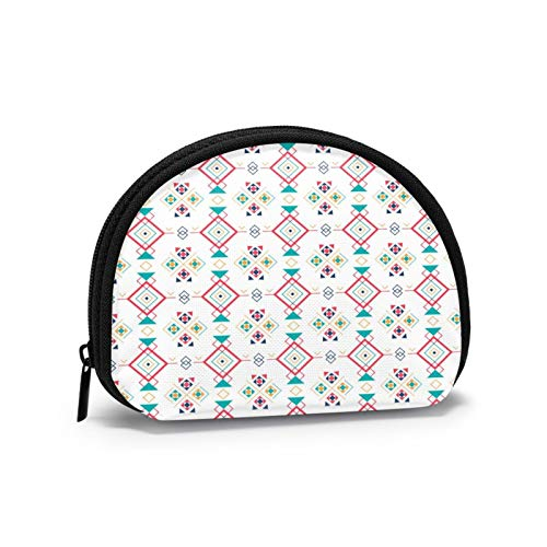 Geometric Ethnic Ornament Women Portable Coin Purse Zippered Change Pouch Wallet Shell Storage Bags