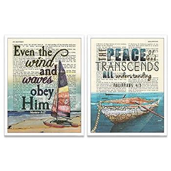 Boat Christian Art Prints Set of 2 Matthew 8 27 Philippians 4 7 Unframed Bible Verse Scripture Wall Decor Poster 8x10 Inches