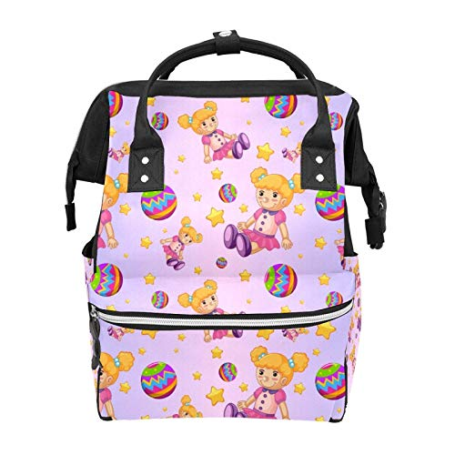 Casual Travel Daypack Dolls Balls Stars Gradient Purple Water Resistant Anti-Theft Bag Lightweight Packable Backpack Classic Backpack,Large Capacity,Multipurpose,Stylish and Durable